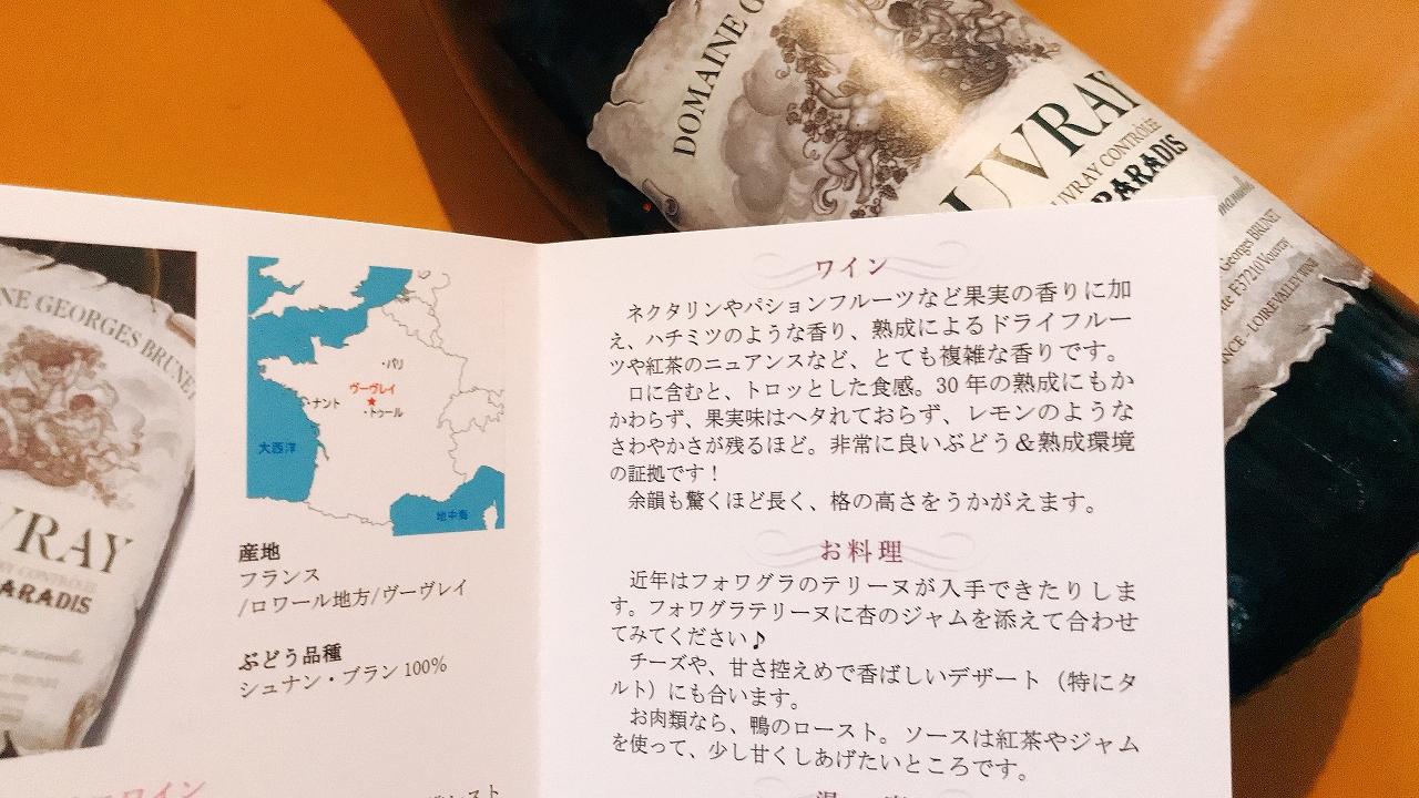 ワイン説明カードによる味わいの説明
